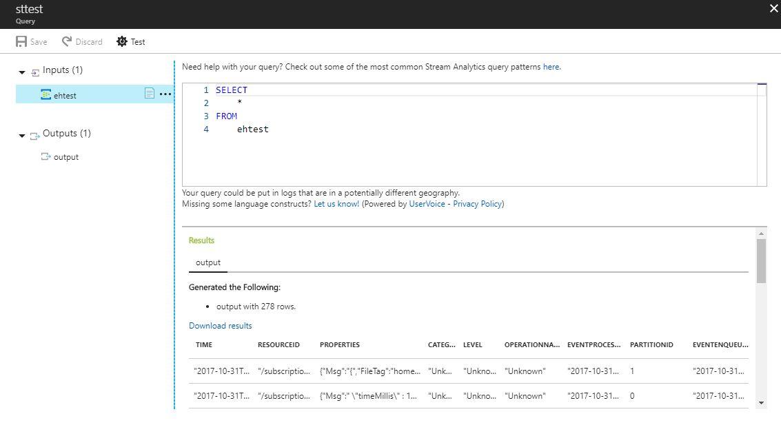 Стриминг и анализ логов Java приложений в MS Azure с использованием Log4j и Stream Analytics - 6