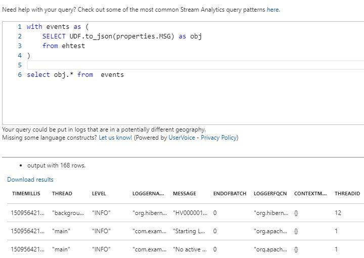 Стриминг и анализ логов Java приложений в MS Azure с использованием Log4j и Stream Analytics - 8