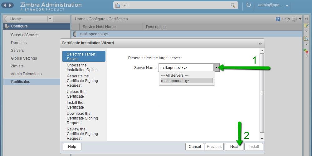 Установка SSL-сертификата на Zimbra - 4