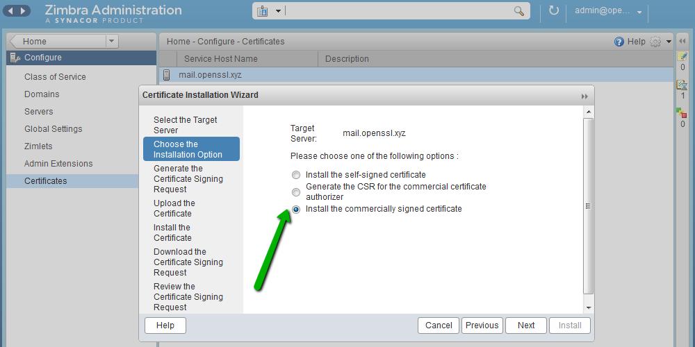 Установка SSL-сертификата на Zimbra - 5