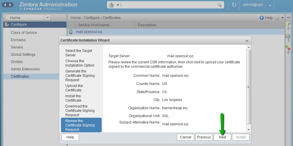 Установка SSL-сертификата на Zimbra - 6