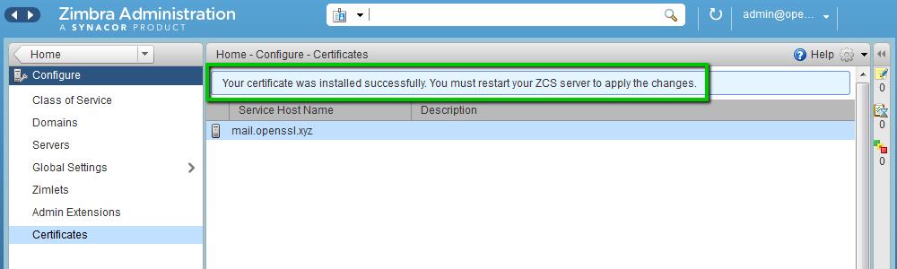 Установка SSL-сертификата на Zimbra - 9