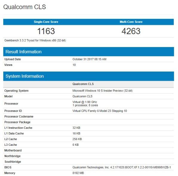 Первый ноутбук с Windows 10 и Snapdragon 835 протестирован в Geekbench
