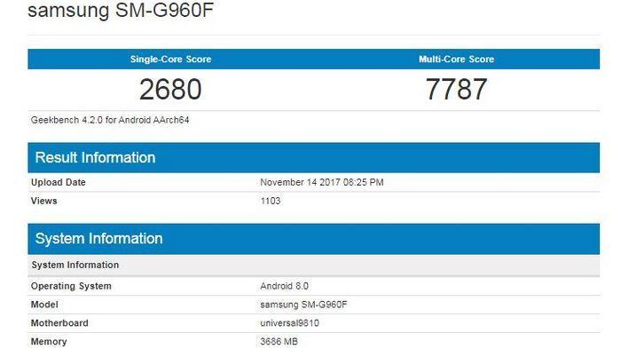 Смартфон Samsung Galaxy S9 набрал 7787 баллов в Geekbench