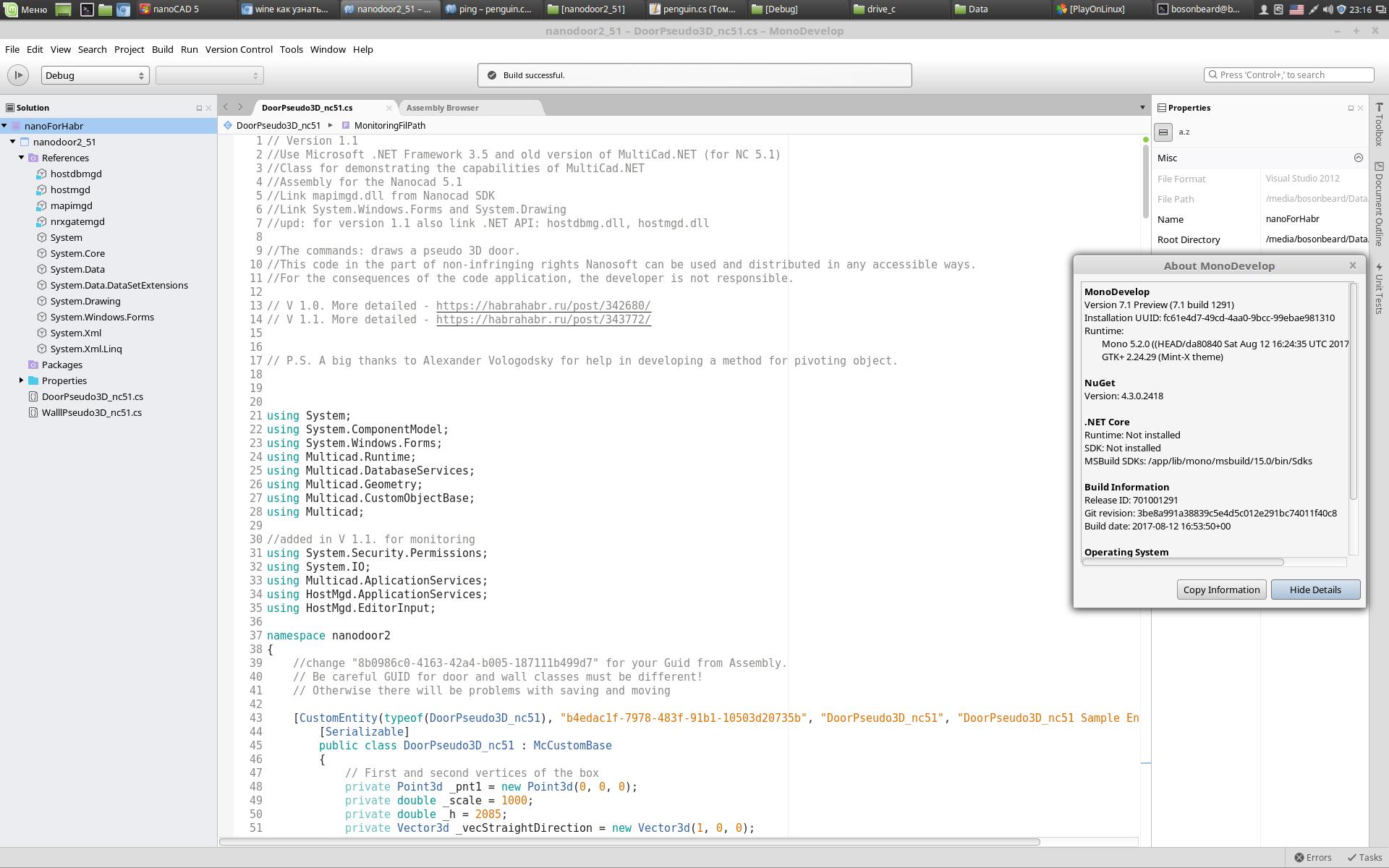 «Истина в вине» или пробуем программировать NanoCAD под Linux (MultiCAD.NET API) - 4