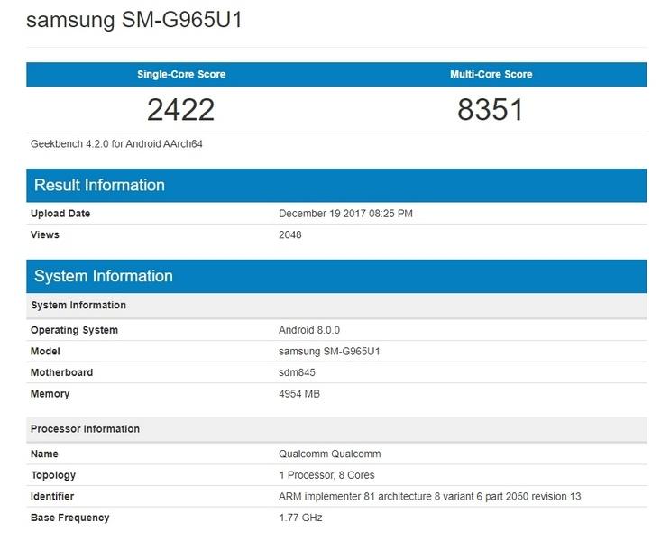 Показатели Samsung Galaxy S9+ появился в Geekbench