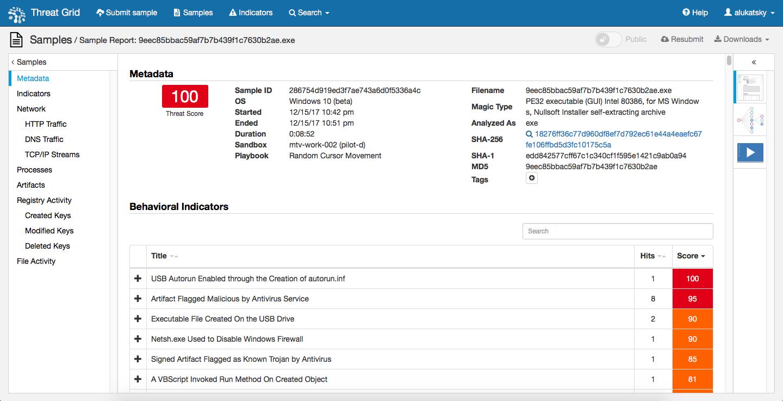 Cisco AMP Threat Grid анализирует файл