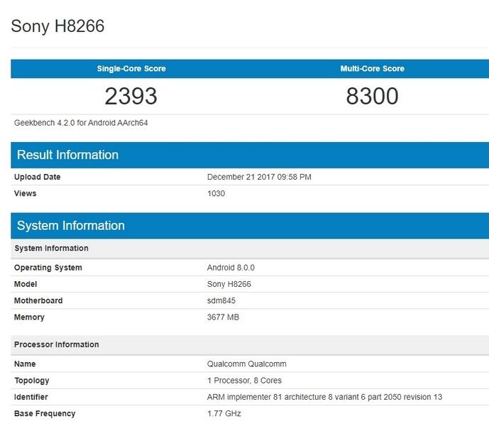 Sony выпустит смартфон H8266 с новой топовой платформой Qualcomm