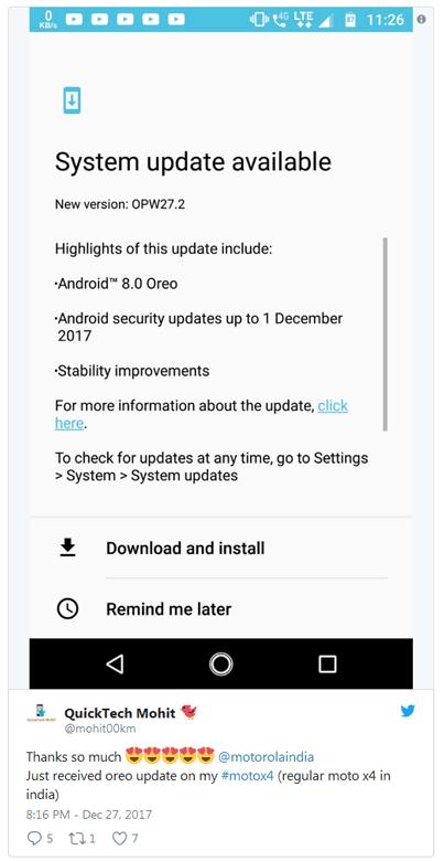 Обновление носит версию OPW27.2