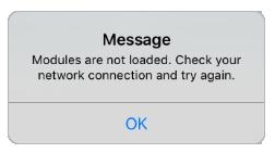 Результат первой проверки работы приложения с демонстрационным сервером и ошибка, выдаваемая приложением.