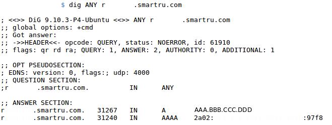 DNS запись, имеющая IPv4 и IPv6 адреса