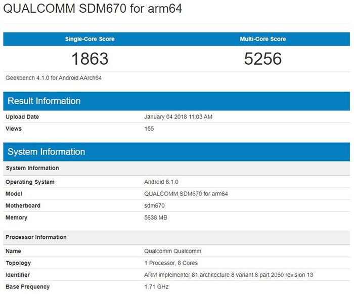 Тестовое устройство на базе SoC Qualcomm Snapdragon 670 протестировано в Geekbench