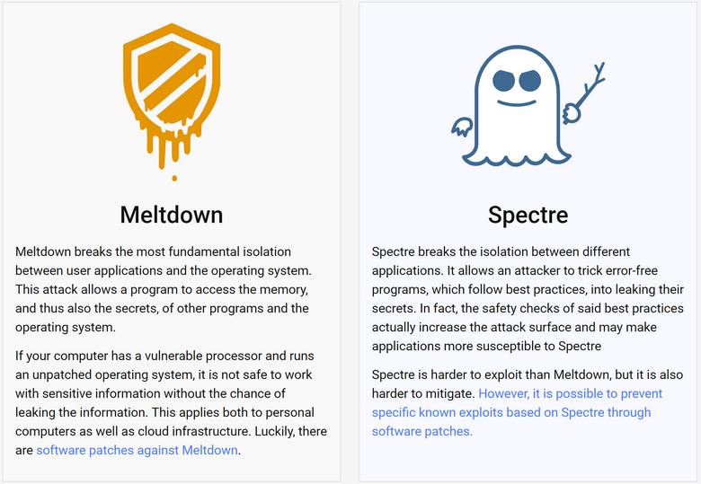 Уязвимости в процессорах назвали Meltdown и Spectre