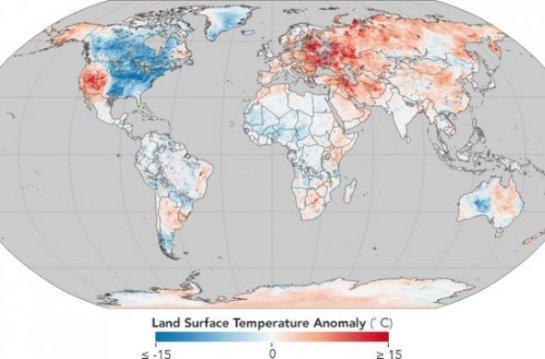 НАСА опубликовало карту, на которой отмечены температурные аномалии