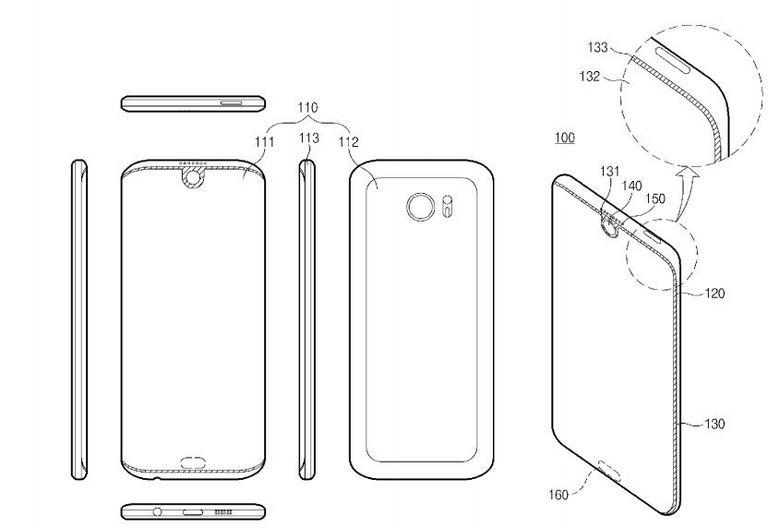 Samsung запатентовала смартфон с экраном, которые имеет вырез в верхней части