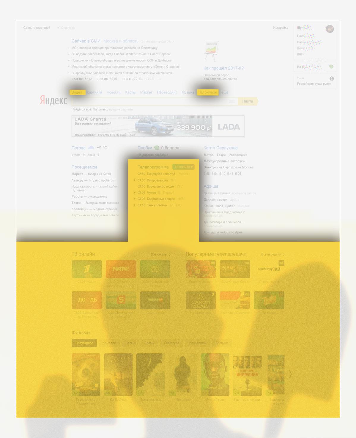49 процентов Яндекса поисковик отдал по видео, ТВ и кино