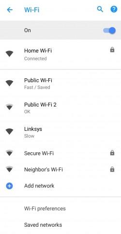 Android 8.1 показывает скорость доступных сетей Wi-Fi