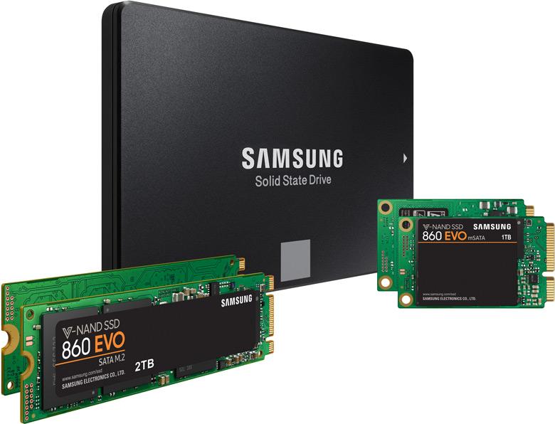 В накопителях Samsung 860 Pro и 860 Evo используется флэш-память с объемной компоновкой V-NAND