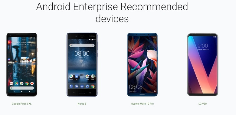 В список Android Enterprise Recommended не вошёл ни один смартфон Samsung
