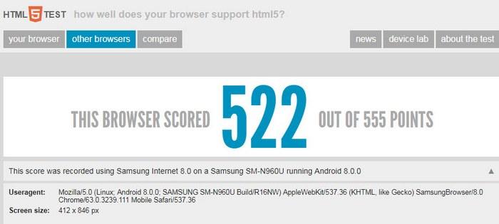 Смартфон Samsung Galaxy Note9 замечен в базе HTML5 Test