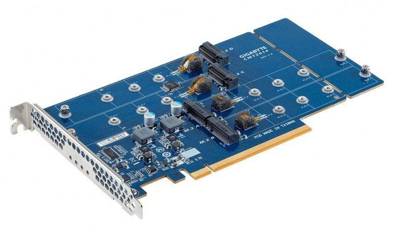 Адаптер Gigabyte CMT2014 позволяет подключить к слоту PCIe x16 до четырёх SSD формата M.2 - 1