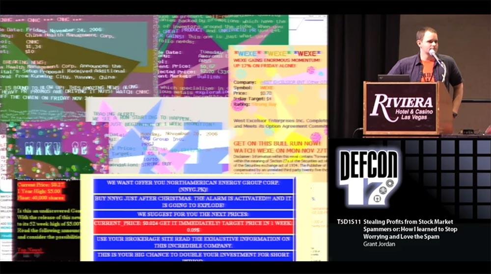 Конференция DEFCON 17. «Украсть прибыль у спамеров: как я перестал беспокоиться о спаме и полюбил его». Грант Джордан - 18