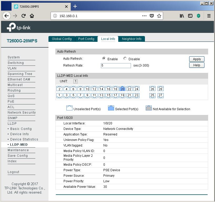 TP-Link T2600G-28MPS: работа с PoE, LLDP и Voice VLAN - 17