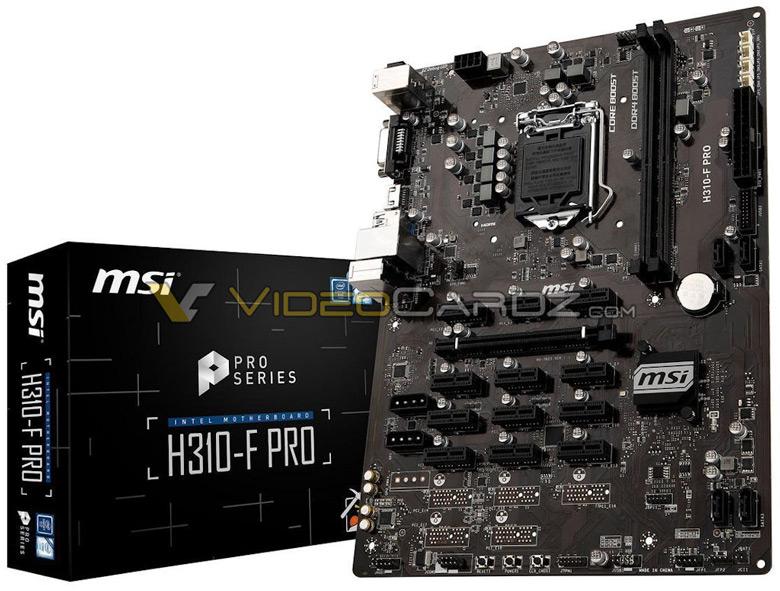 На плате MSI H310-F Pro есть 13 слотов PCIe x1