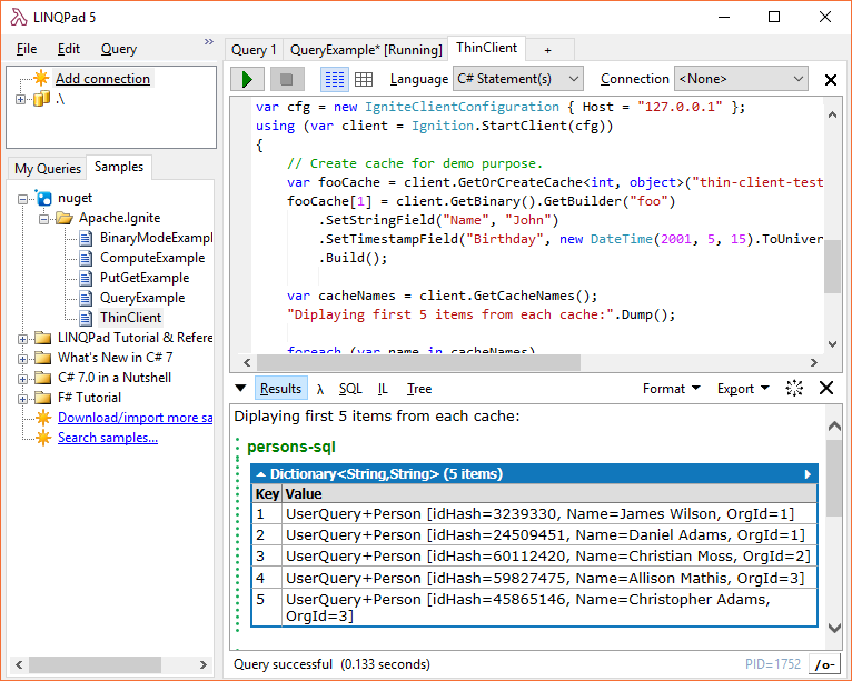 Ignite.NET Thin Client LINQPad Sample