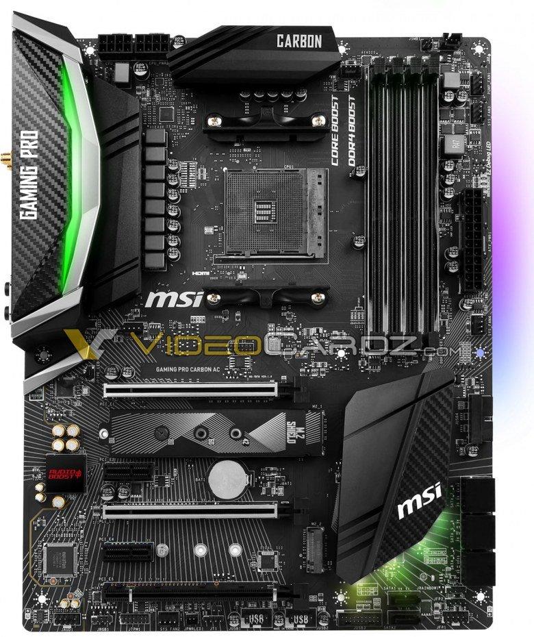 Появились изображения системной платы MSI X470 Gaming Pro Carbon AC