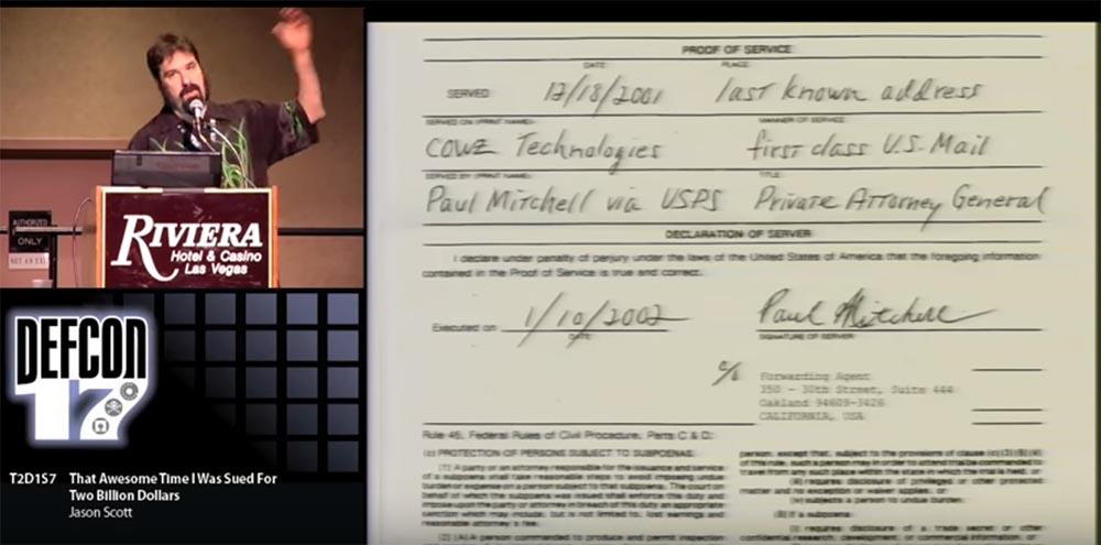 Конференция DEFCON 17. «Это восхитительное время, когда меня обвинили в ущербе на 2 миллиарда долларов». Джейсон Скотт - 13