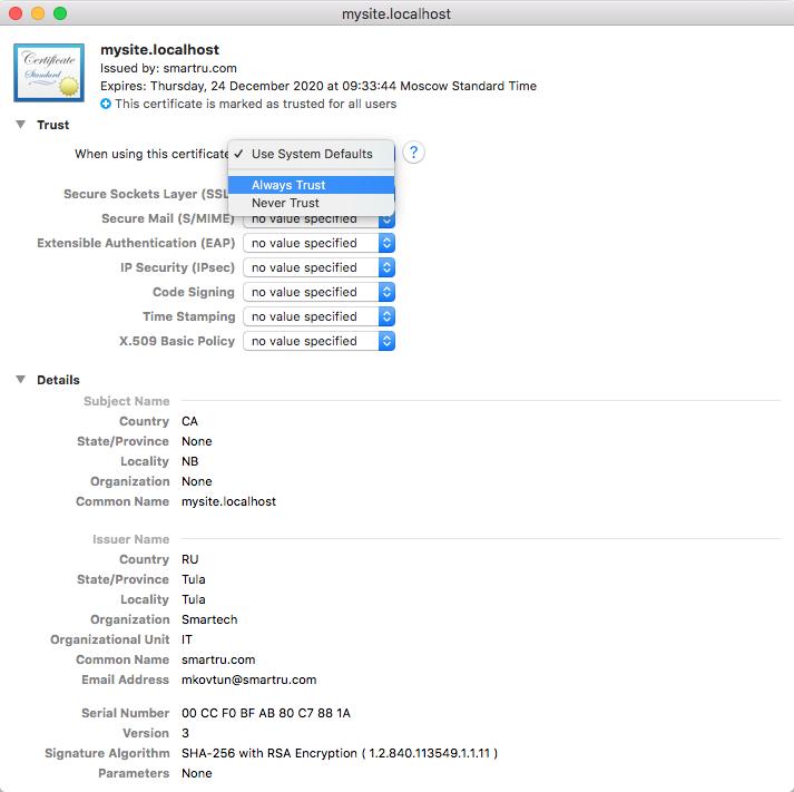 Как выпустить самоподписанный SSL сертификат и заставить ваш браузер доверять ему - 4