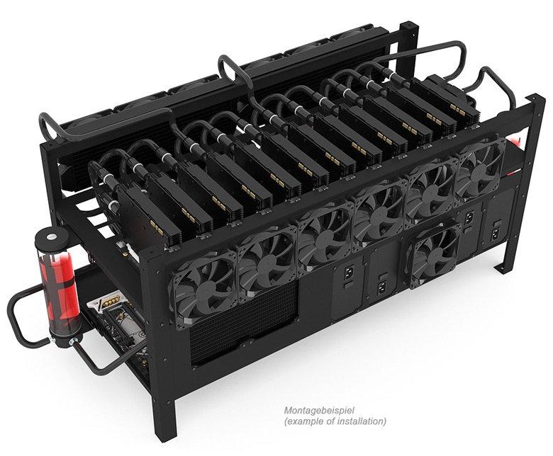 Шасси Alphacool Mining Rig 12 предназначено для систем для добычи криптовалют