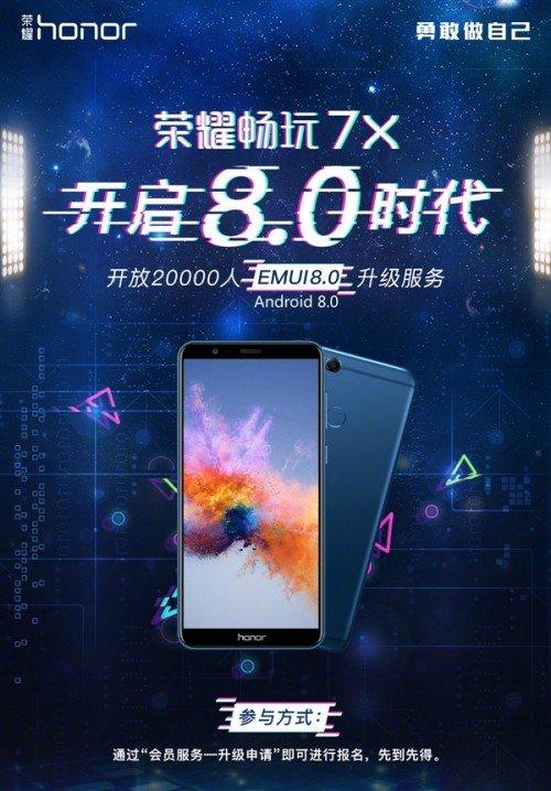 Стало известно, когда Huawei Honor 7X получит EMUI 8.0
