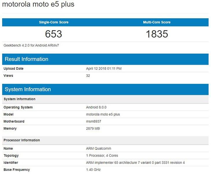 Moto E5 Plus замечен в бенчмарке Geekbench