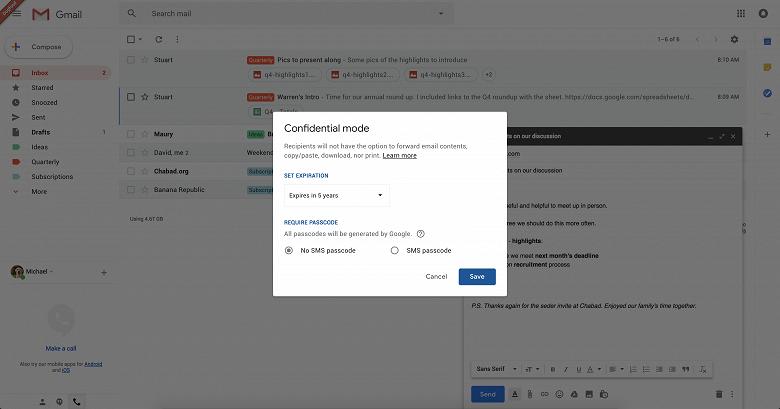 Google добавит в Gmail возможность отправлять самоуничтожающиеся письма - 3