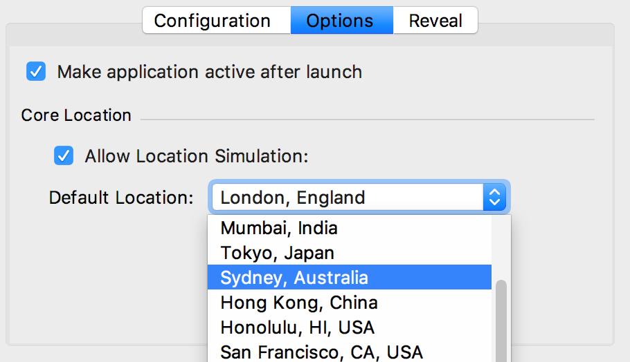 Location in the Run Configuration