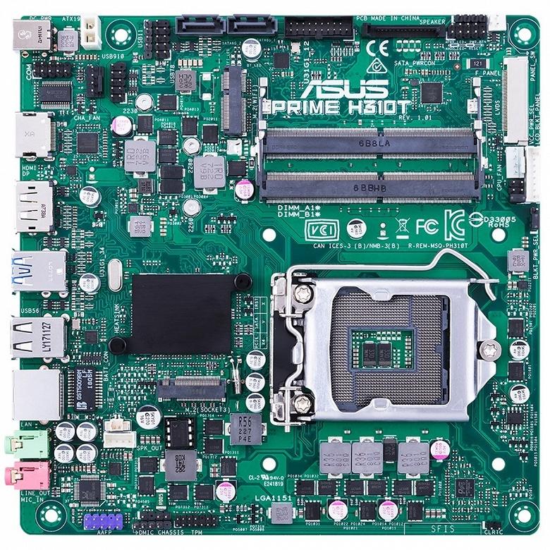 Системная плата ASUS Prime H310T типоразмера Thin mini-ITX поддерживает процессоры с TDP до 95 Вт