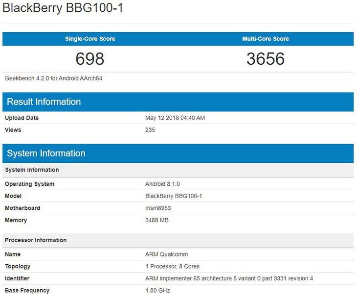 Смартфон BlackBerry BBG100 замечен в бенчмарке Geekbench
