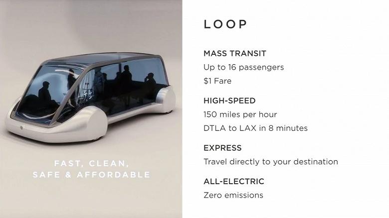 Стоимость поездки на модуле Loop компании The Boring Company составит всего 1 доллар