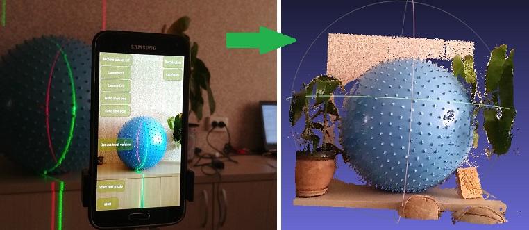 3D лазерный сканер на Android телефоне - 1