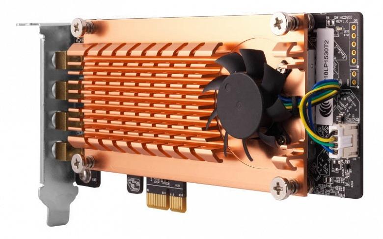 Беспроводной адаптер QNAP QWA-AC2600 с активным охлаждением рассчитан на подключение внешней антенной системы
