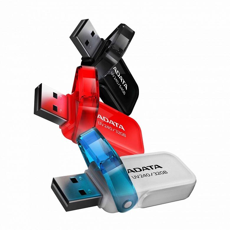 Флэш-накопитель Adata UV240 оснащен интерфейсом USB 2.0