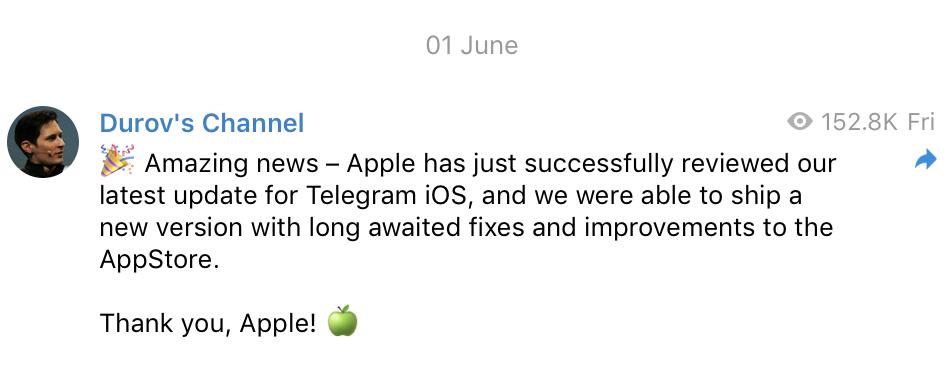 После жалобы Павла Дурова Apple пропустила первое с апреля обновление «Телеграма» для iOS-пользователей - 1