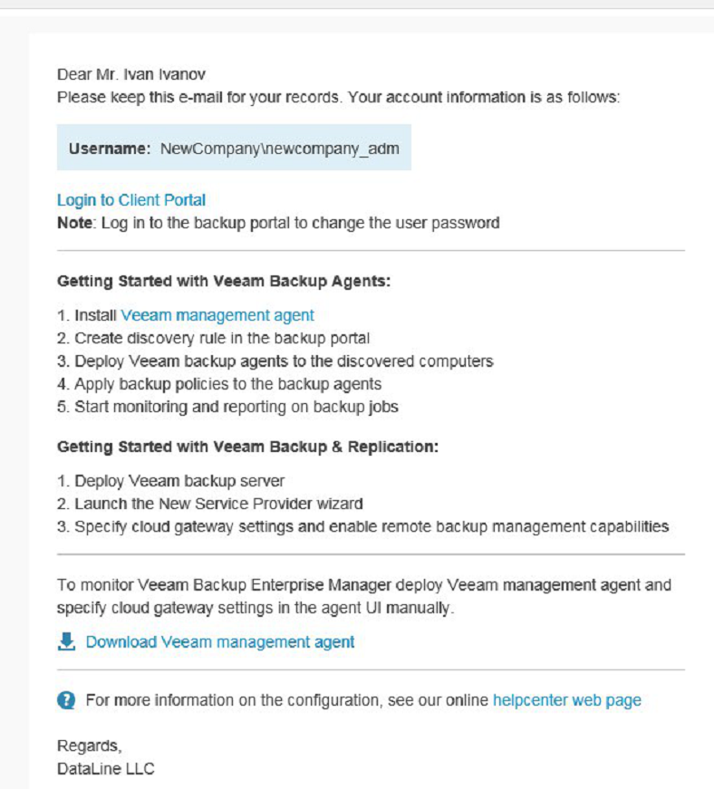 Работа с Veeam Availability Console: настройка управляемого резервного копирования Managed Backup Services - 12