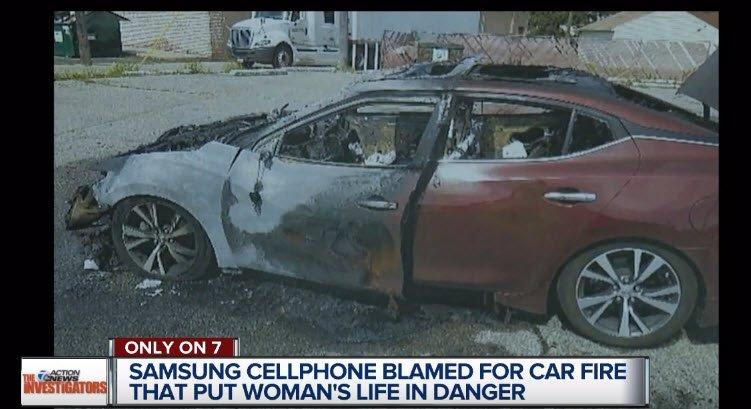 Смартфон Samsung стал причиной пожара, который уничтожил автомобиль
