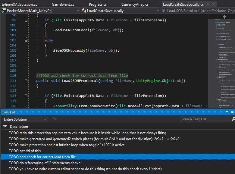 Использования //todo для создания списка задач