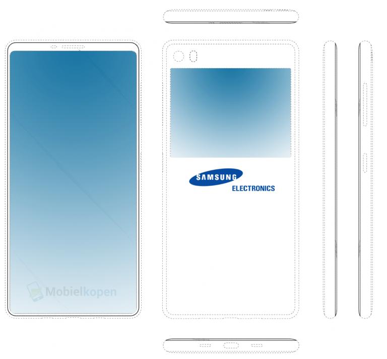 Samsung запатентовала смартфон со вторым экраном на задней панели