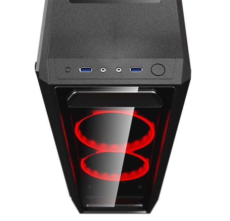 Cougar MX350: строгий корпус с двумя вентиляторами Red LED