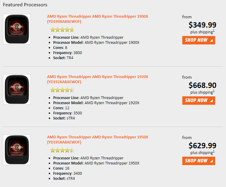 Цены на процессоры Ryzen Threadripper снова снизились